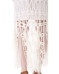 Free People White Pieced Lace Maxi Skirt