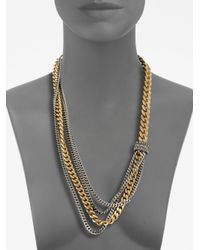 Giles & Brother - Metallic Multirow Twotone Chain Link Necklace - Lyst