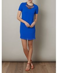Issa Blue Beaded Neckline Shift Dress