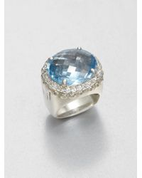 John Hardy | Metallic White Sapphire and Sterling Silver Ringsky Blue Topaz | Lyst