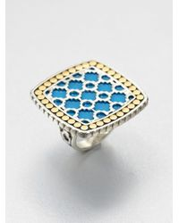 John Hardy | Metallic Turquoise 18k Yellow Gold and Sterling Silver Ringlarge | Lyst