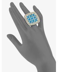 John Hardy Metallic Turquoise 18k Yellow Gold and Sterling Silver Ringlarge