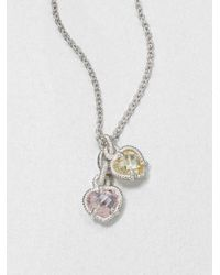 Judith Ripka | Metallic La Petite Crystal & Sterling Silver Twin Heart Pendant Necklace | Lyst