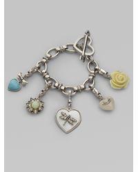 Juicy Couture - Metallic Heart Gift Box Charm Bracelet - Lyst