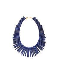 Kenneth Jay Lane Blue Gold-tone Lapis Necklace