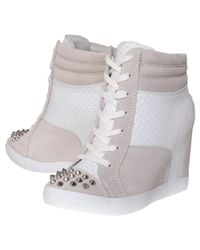 KG by Kurt Geiger White Lydia Studded Toe Cap Wedge Trainers