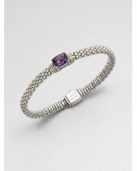 Lagos | Amethyst Sterling Silver and 18k Yellow Gold Bracelet | Lyst