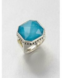 Lagos | Metallic Turquoise Doublet Sterling Silver and 18k Yellow Gold Ring | Lyst