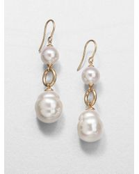 Majorica - White 10mm Round Pearl 14mm Baroque Pearl and 18k Yellow Gold Earrings - Lyst
