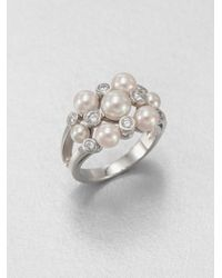 Majorica | Metallic 3mm 5mm and 6mm Pearl and Sterling Silver Ring | Lyst