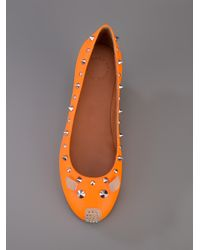 Marc By Marc Jacobs Orange Studded Mouse Ballerina Flat