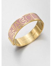 Marc By Marc Jacobs - Pink Enamel Accented Logo Bangle Braceletwide - Lyst