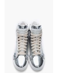 Marc By Marc Jacobs Metallic Silver Leather Mirror Hightop Sneakers