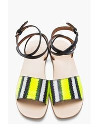 Marc By Marc Jacobs Fluorescent Yellow Leather Anemone Fish Stripe Sandals