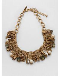 Oscar de la Renta - Metallic Stone Swarovski Crystal Embellished Collar Necklace - Lyst