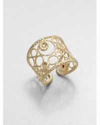 Roberto Coin | Metallic Bollicine Diamond & 18K Yellow Gold Ring | Lyst
