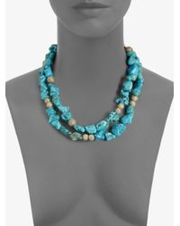 St. John | Blue Beaded Necklace | Lyst