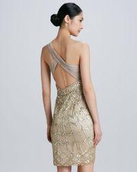 Sue Wong Metallic Oneshoulder Beaded Cocktail Dress