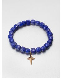 Sydney Evan | Diamond 14k Gold Accented Lapis Beaded Bracelet | Lyst