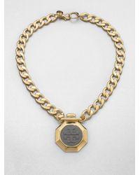 Tory Burch - Metallic Daren Logo Pendant Necklace - Lyst