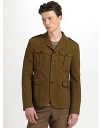 Burberry Brit | Green Garment-dyed Herringbone Jacket for Men | Lyst