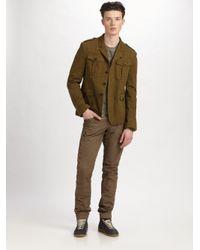 Burberry Brit - Green Garment-dyed Herringbone Jacket for Men - Lyst