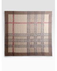 Burberry Natural Smoked Chains Mega Check Silk Scarf
