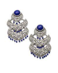Clara Kasavina | Blue Large Filigree Chandelier Earrings | Lyst