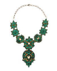 Deepa Gurnani | Green Elbert Golden Bib Necklace Emerald | Lyst