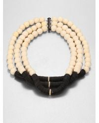 Elizabeth and James | Black Bone Bead and Disc Necklace | Lyst