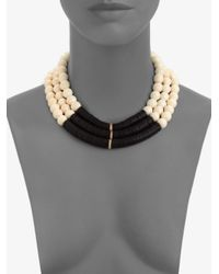 Elizabeth and James - Black Bone Bead and Disc Necklace - Lyst