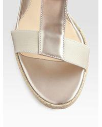 Fendi White Carioca Pearlized Patent Leather Wedge Sandals