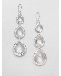 Ippolita | Metallic Rock Candy Clear Quartz & Sterling Silver Triple-Teardrop Earrings | Lyst