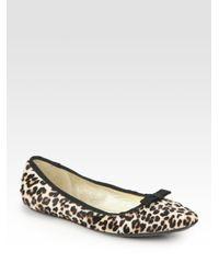 Jimmy Choo - Natural Leopard-Print Calf Hair Ballet Flats - Lyst