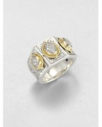 Konstantino Metallic Sterling Silver 18k Gold Pavé Diamond Ring