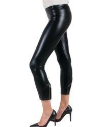 Kova & T Black Latex Zip Hem Legging Trousers