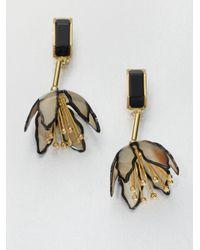 Marni | Black Horn Floral Clipon Drop Earrings | Lyst