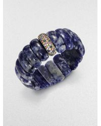 M.c.l  Matthew Campbell Laurenza Blue Multicolored Sapphire & Lapis Beaded Stretchbracelet
