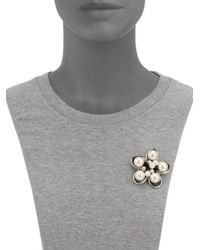 Boutique Moschino - Metallic Pearl Floral Brooch - Lyst