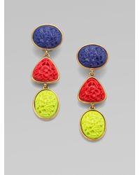 Oscar de la Renta - Blue Tricolored Resin Drop Earrings - Lyst