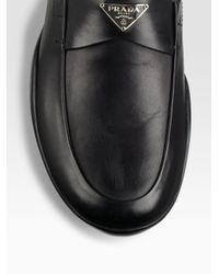 Prada | Black Logo Loafers for Men | Lyst