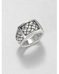 Scott Kay - Metallic Sterling Silver Matte Basketweave Ring for Men - Lyst