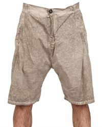 Silent - Damir Doma Brown Cotton Poplin Front Pleated Shorts for men