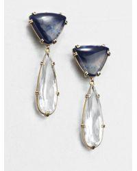 Stephen Dweck - White Blue Agate Rock Crystal Clipon Drop Earrings - Lyst