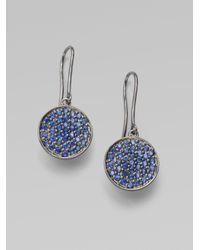 Sydney Evan | Blue Sapphire 14k White Gold Disc Earrings | Lyst
