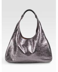 Tory Burch - Dafina Metallic Embossed Leather Hobo - Lyst