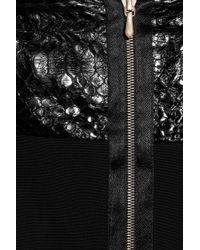Victoria Beckham | Black Stretchcrepe and Python Dress | Lyst