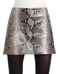 Alice + Olivia - Gray Snakeskin Embossed Leather Mini Skirt - Lyst