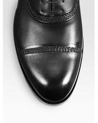 Bottega Veneta Black Leather Captoe Oxford for men