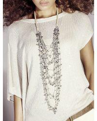 Brunello Cucinelli | Metallic Linen and Glass Bead Necklace | Lyst
